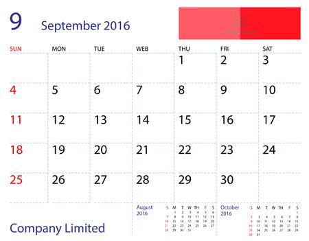 september: Desktop calendar September 2016 template. Paper size 204 mm x 159 mm.