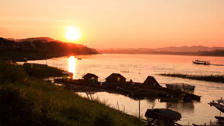 mekong: Sunset at Mekong river Thailand.