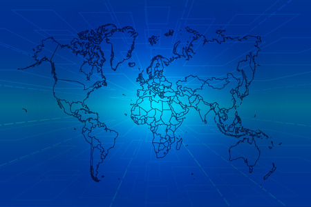 blue tone: Perspective background blue tone with world map.