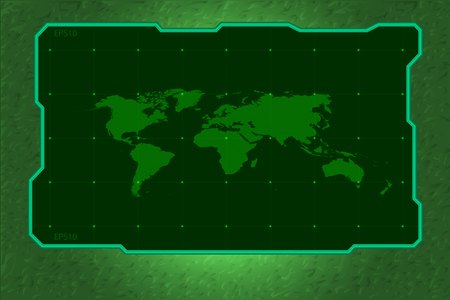 green tone: technology frame green tone with world map