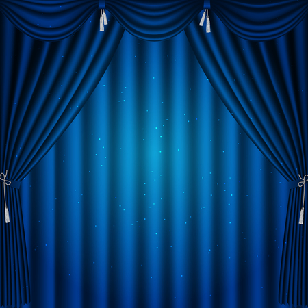 Blue curtain 1x1. Vector illustration. Illustration