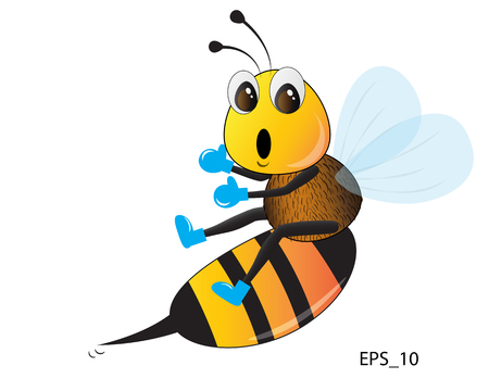 Bee cartoon say WOW on white. Vector illustration.