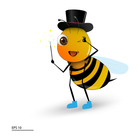 Cute Bee Magician isolated on white. Vector illustration.
