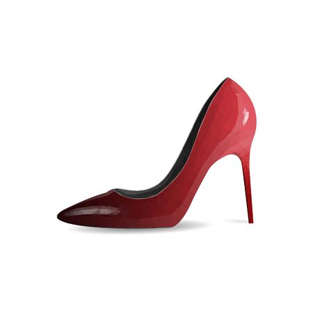 Zapatos de mujer rojos aislar sobre fondo blanco. Estilo poligonal. Ilustración vectorial.