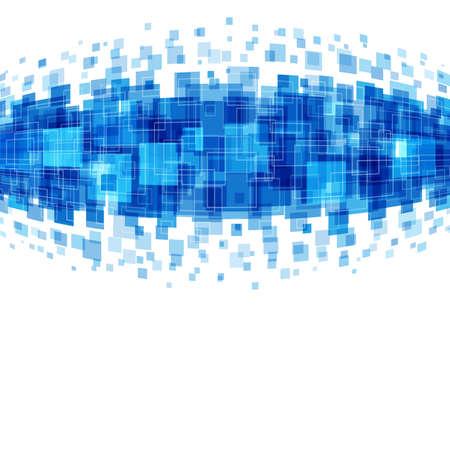 Lignes de carrés géométriques abstraites fond bleu. Bon pour le matériel de promotion, des brochures, des bannières. Toile de fond abstraite, fond de la technologie.