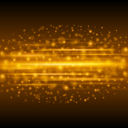 glitz: Abstract Golden Light Bokeh Background Vector Illustration. Magic Gold Defocused Glitter Sparkles. Good for promotion materials, Brochures, Banners. Abstract Backdrop. Illustration