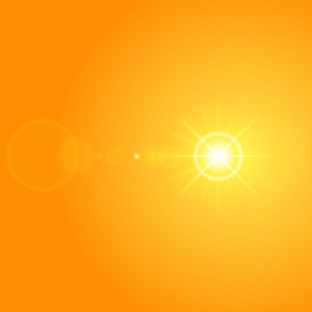 Sun with lens flare lights template and vector background. Sunrise or Sunset Special Effect Glowing Rays. Good for promotion materials, Brochures, Banners. Abstract Backdrop. Illustration