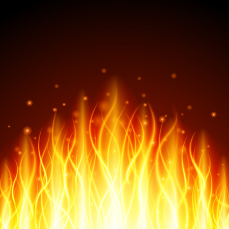 special effect: Abstract fire flame light on black background vector illustration. Burning flames translucent elements special Effect