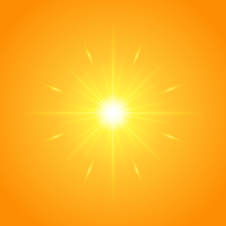 stare: Sun with lens flare lights template and vector background. Sunrise or Sunset Special Effect Glowing Rays. Good for promotion materials, Brochures, Banners. Abstract Backdrop. Illustration