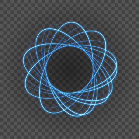 special effects: Smooth light blue lines on transparency background vector illustration. Glowing translucent element for special Effects. Abstract design.