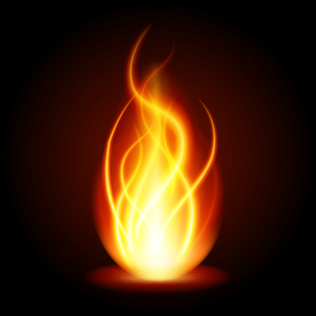 Abstract fire flame light on black background vector illustration. Burning flames translucent elements special glowing effect. Stock Vector - 64230624