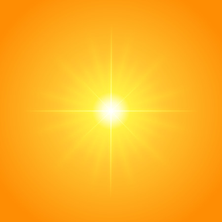 special effect: Sun with lens flare lights template and vector background. Sunrise or Sunset Special Effect Glowing Rays. Illustration