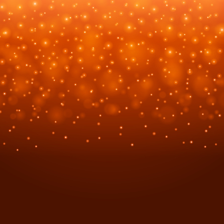 Abstract Light Orange Bokeh Background Vector Illustration. Magic Defocused Glitter Sparkles. Good for promotion materials, Brochures, Banners. Abstract Backdrop. Illustration