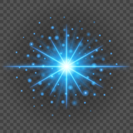 resplandor: Sun with lens flare lights template and vector background. Special Effect Glowing Rays. Vectores