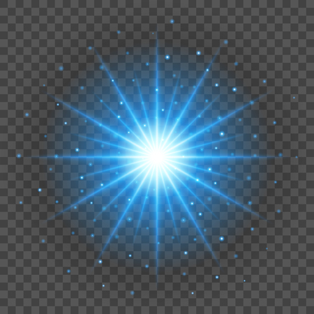 Sun with lens flare lights template and vector background. Special Effect Glowing Rays. Vectores