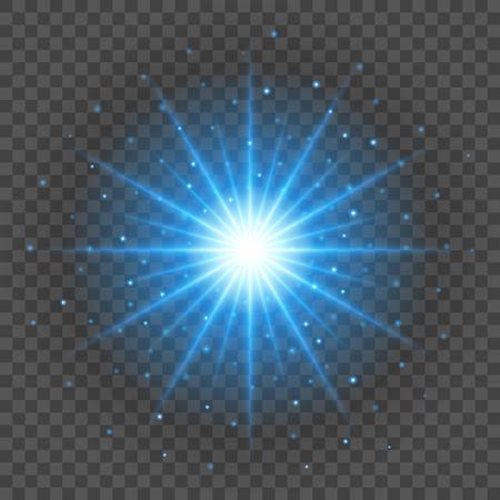 Zon met lens flare lichten sjabloon en vector achtergrond. Gloeiende stralen met speciaal effect.