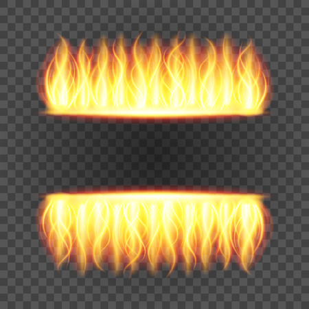 Abstract fire flame light on black background vector illustration. Burning flames translucent elements special Effect.