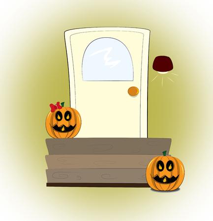 nite: sweet and danger pumpkins wait you near your door in halloween