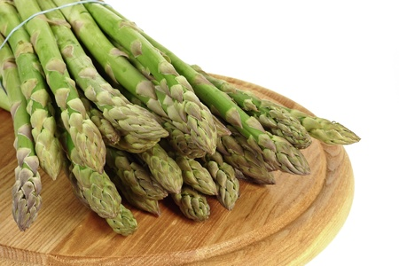 asparagus vegetable on chopping board  Stock Photo