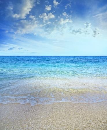 beach scene: blue sea background