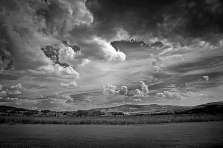infra red photography of landscape with beautiful sky photo