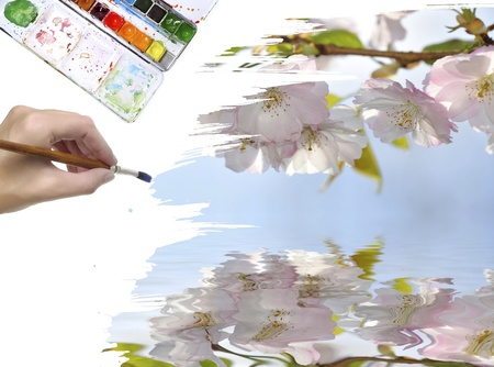 hand painting spring picture  photo