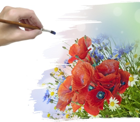 hand painting meadow flowers photo