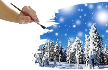 hand schilderen: hand schilderen winterlandschap Stockfoto