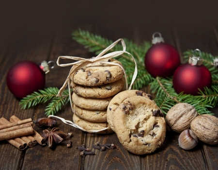 homemade cookies: still life with christmas cookies and spice Stock Photo
