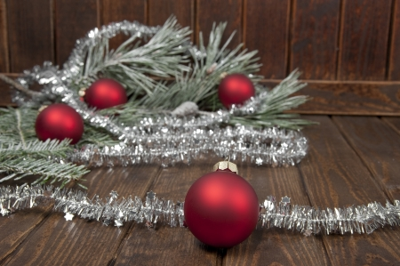 christmas decorations on an old wooden table photo