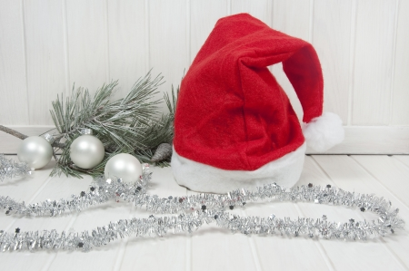 christmas decorations with a santa cap Stock Photo - 16228896