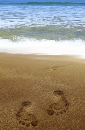 footprint on a beach photo
