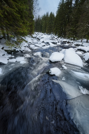 flurry: big mountain river in the winter time