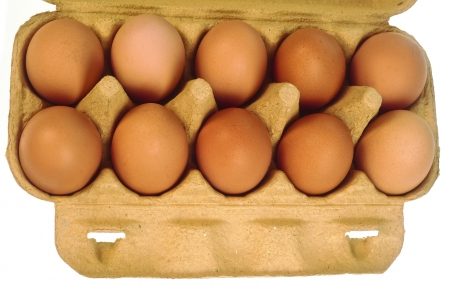eggs in a paper box isolated photo