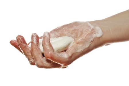 anti bacterial soap: hand with soap Stock Photo