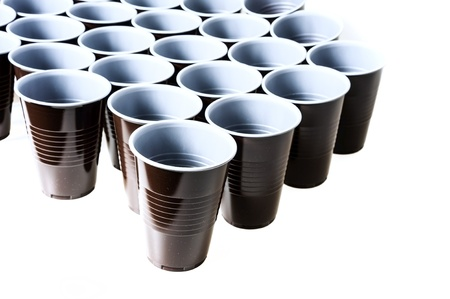 plactic: brown plastic cups Stock Photo