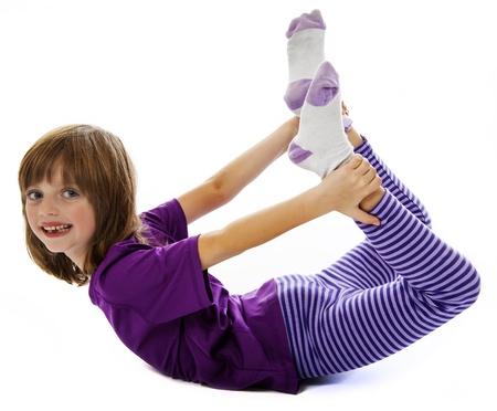little girl doing excercise photo