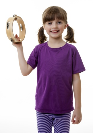 little girl with tambourine photo