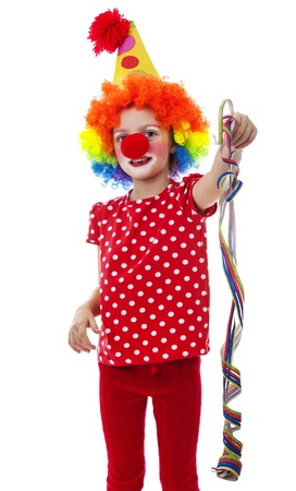 a happy little clown isolated on a  white background Stock Photo - 18259182