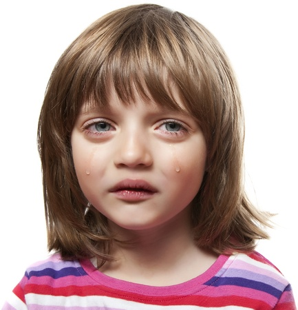 crying little girl - white background Stock Photo