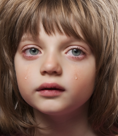 watery: portrait of a crying little girl