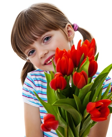little girl with bunch of tulips photo
