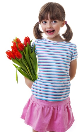 little girl with bunch of tulips - mothers day concept photo
