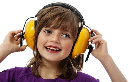 noise isolation: little girl with receiver