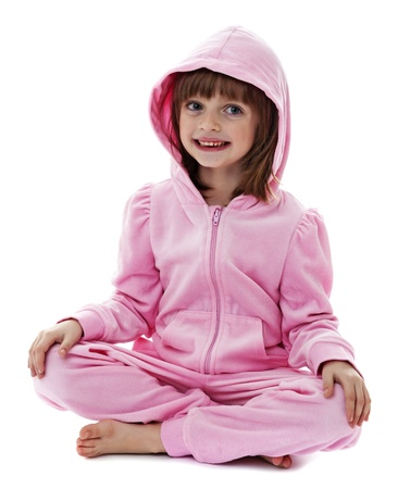 little girl wearing a pink jacket with hood on white background photo