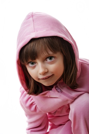 little girl wearing a pink jacket with hood photo