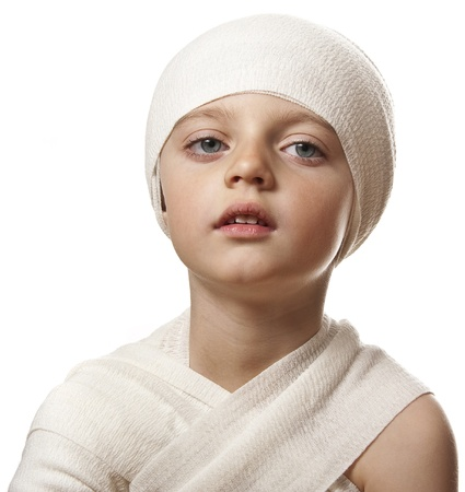 head injury: a child with a bandage