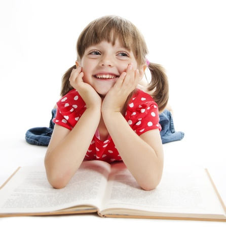 little girl reading book photo