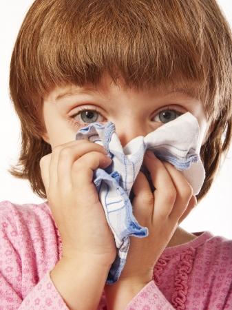 catarrh: little girl with handkerchief