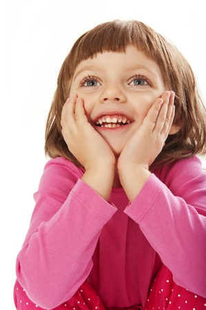 envisage: happy little girl isolated Stock Photo
